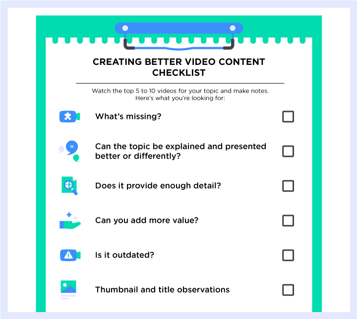 Create better YouTube videos checklist
