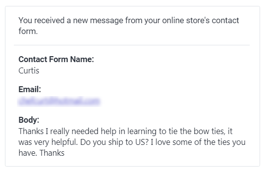 Another customer email from YouTube video