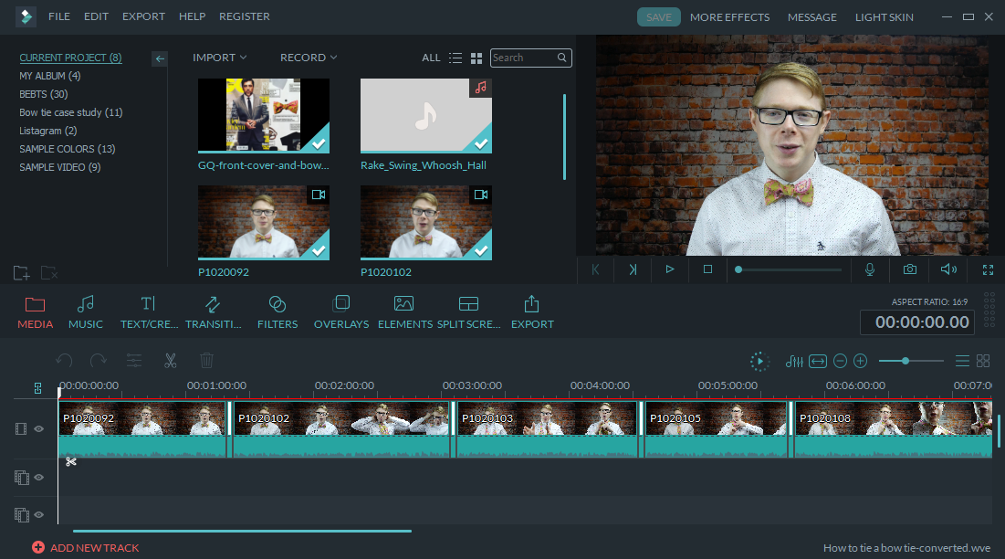 Filmora Editing Screen