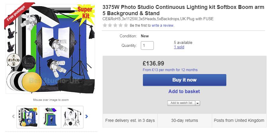 My video lighting kit eBay for YouTube