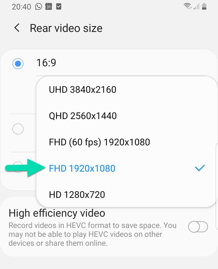 Phone video resolution settings