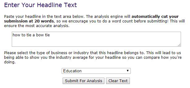 YouTube video titles in AMI Headline Analyzer