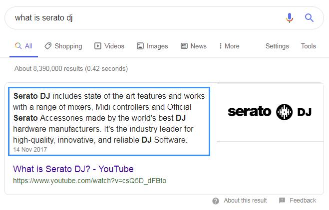 YouTube video description in Google SERP