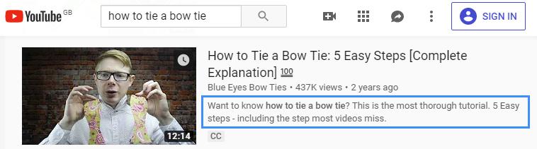 YouTube video description preview