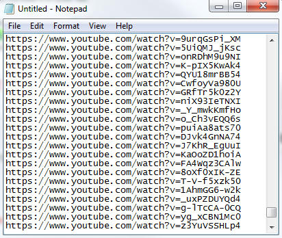 YouTube ad placements pasted in Notepad