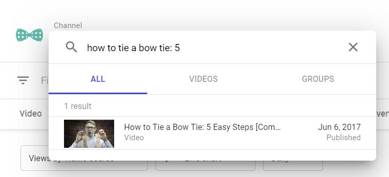 YouTube Studio select your video